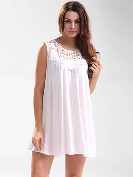 Ericdress Lace Crochet Patchwork Pleated Tank Top