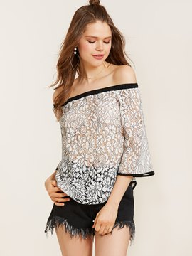 Ericdress Slash Neck Three-Quarter Sleeve Lace Blouse
