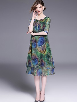 Ericdress Print 3/4 Length Sleeves Mid-Calf Casual Dress