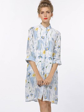 Ericdress Stand Collar Floral Print Blouse
