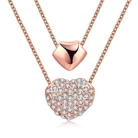 Ericdress K Gold Plating Double-Heart Rose Gold Necklace