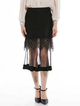 Lace Patchwork See-Through Women's A-Line Skirt