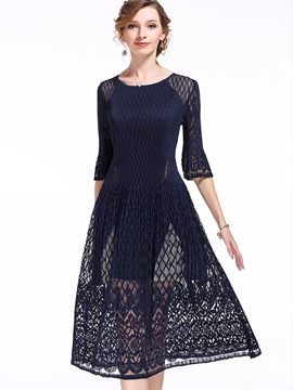 Ericdress Plain Lace Patchwork Half Sleeves Maxi Dress