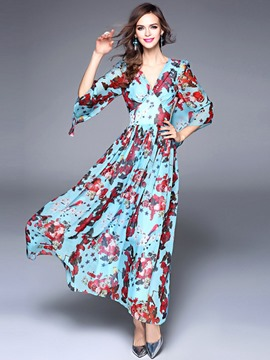 Ericdress Floral Print V-Neck 3/4 Sleeve Maxi Dress