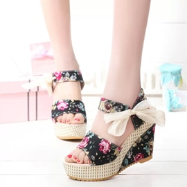 Ericdress Floral Print Bowtie Decorated Wedge Sandals