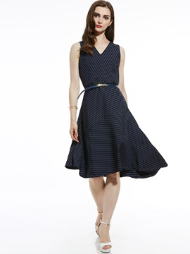Ericdress V-Neck Stripe Belt-Included Asymmetric A Line Dress