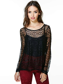 Ericdress Crochet See-Through Lace Blouse