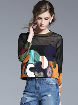 Ericdresss Embroidery Patchwork Stylish T-Shirt