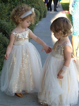 Ericdress Shiny Sequins Square Long Flower Girl Dress