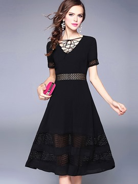 Ericdress V-Neck Patchwork Short Sleeve Little Black Dress
