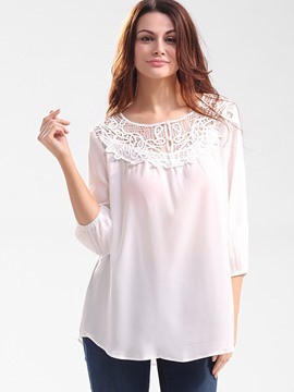 Ericdress Lace Crochet Patchwork Loose Blouse