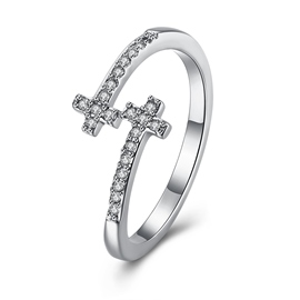 Ericdressn Cross Diamante Adjustable Ring for Women