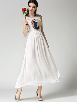 Ericdress Plain EmbroiderySleeveless Chiffon Expansion Maxi Dress