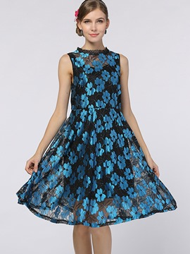 Ericdress Stand Collar Floral See-Throug Lace Dress