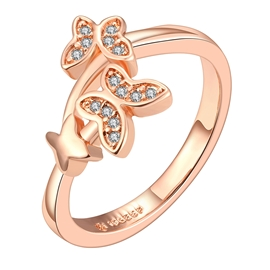 Ericdress Double-Butterfly Creative Rose Gold Ring