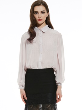 Ericdress Lapel Single-Breasted Lantern Sleeve Blouse