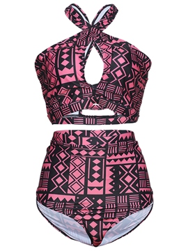 Ericdress Geometric High-Waist Puls Size Swimwear