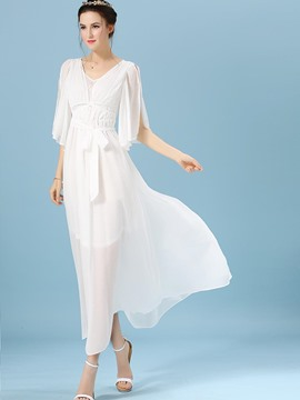 Ericdress Soft Chiffon Flare Sleeve Plain Expansion Maxi Dress