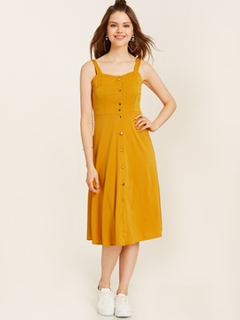 Ericdress single-breasted spaghetti strap backless a-line Kleid