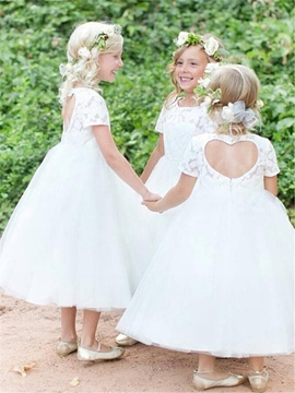 Ericdress A-Line Tulle Tea Length Flower Girl Dress