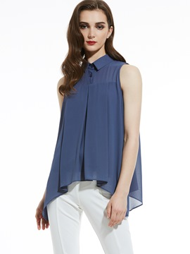 Ericdress Slim Lapel Sleeveless Plain Women's Blouse