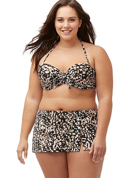 Ericdress Print Hollow Lace-Up Plus Size Swimwear