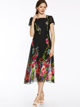 Ericdress Floral Print Square Neck Expansion Bohemian Maxi Dress
