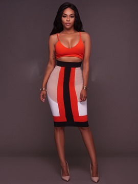 Ericdress Patchwork Spaghetti Strap Backless Belly showin Bodycon Dress