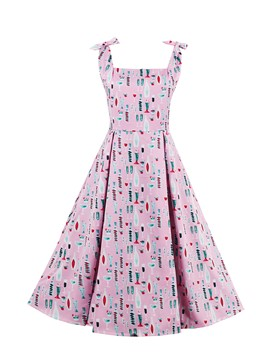 Ericdress Print Tie-Shoulder Square Neck Pleated A Line Dress