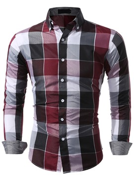 Ericdress Color Block Plaid Long Sleeve Men's Shirt