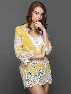 Ericdress Deep Plunge Crochet Beachwear Blouse