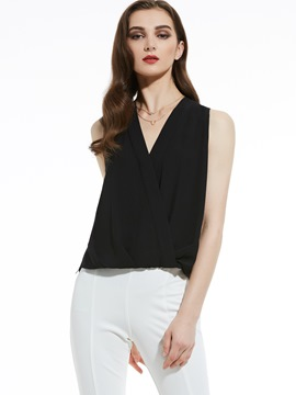 Ericdress V-Neck Wrap Front Chiffon Tank Top