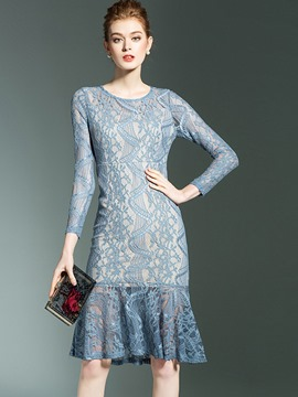 Ericdress Lace Scoop 3/4 Length Sleeves Mermaid Bodycon Dress