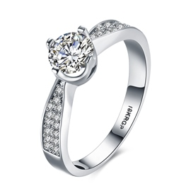 Ericdress Hearts and Arrows Prong Setting Wedding Ring
