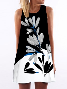 Ericdress Round Neck Sleeveless Print Casual Dress
