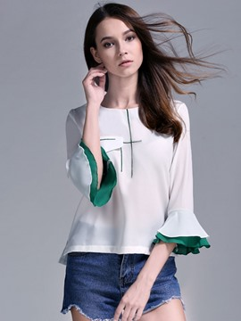 Ericdress Bell Sleeve Patchwork T-Shirt