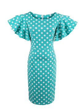 Ericdress Polka DotsPetal Sleeve Knee-Length Bodycon Dress