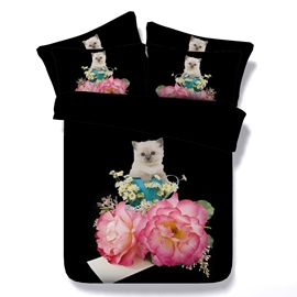 Red Peony and Kitten Printed Cotton 4-Piece Black 3D Bedding Sets/Duvet Covers