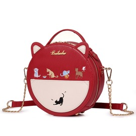 Ericdress Stylish Round Animal Embroidery Shoulder Bag