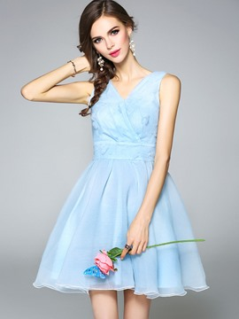 Ericdress Sweet V-Neck Sleeveless Ball Gown A Line Dress