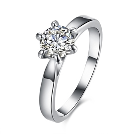 Ericdress Six- Claw Hearts and Arrows Round Cut Wedding Ring