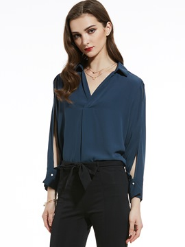 Ericdress Split Sleeve V-Neck Chiffon Blouse