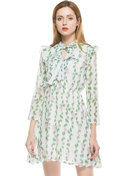 Ericdress Pastoral Print Bow Collar Chiffon A Line Dress