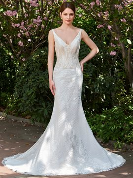 Ericdress Lace Mermaid Backless Appliques Color Wedding Dress