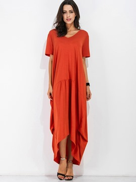 Ericdress Plain V-Neck Asymmetric Short Sleeve Casual Dress