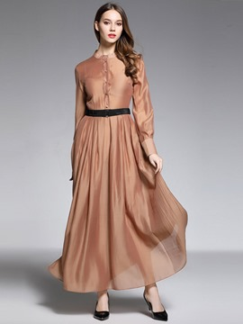 Ericdress French Romantic Plain Button Expansion Maxi Dress