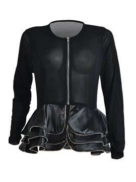 Ericdress Pelplum See-Through Sexy Jacket