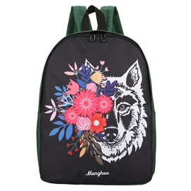 Ericdress Personality Floral Wolf Print Oxford Backpack