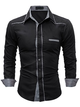 Ericdress Plaid Patched Casual Slim Men's Shirt