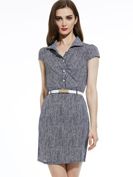 Ericdress Lapel Stripe Belt-Included Bodycon Dress